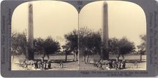 Obélisque d'Héliopolis Egypte Photo Stereo Vintage Argentique
