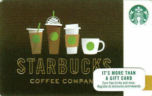 STARBUCKS Empty Gift card Latte Coffee Drink Line-up Green 2017 - No value