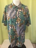 Tori Richard Men's Green Brown Blue Floral Hawaiian Shirt Size XL