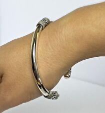 Sterling Silver 925 Bali Torque Open Cuff Bangle Solid 25g Elegant Twist Chain