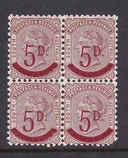 South Australia 1891 5d Overprint  Block of 4 MNH