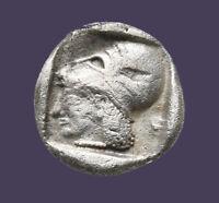 Archaios | Diobol Mysia Lampsakos Athena Helmeted Janus Heads. Silver VF |
