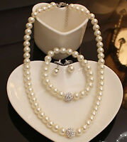 Wedding Shiny Bridal Jewellery Set White Pearls Necklace Earrings Bracelet S454