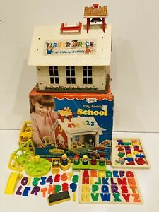 Fisher Price 923 Little People Play Family School & BOX & Mini Bus 141 & EXTRAS