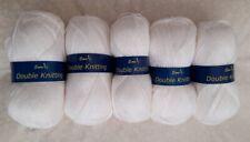 5 x 100g Emu soft acrylic DK double knitting yarn - white.  Ideal for baby