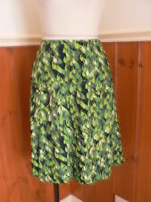 PRE LOVED UTTAM LONDON S WOMEN SIZE 10 12 FUNKY DESIGNER SKIRT GREEN PRINT POLY