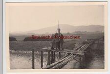 (F6945) Orig. Foto Baustelle im Fluss, Uferbefestigung, Behelfsbrücke 1938