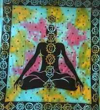Couverture indienne 7 Chakras Méditation turquoise 230x210cm Tie Dye Coton