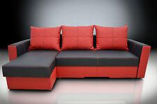 CORNER SOFA BED ''BRISTOL'' BONDED LEATHER BLACK /RED, ! 2STORAGES! CASH ON DEL
