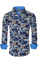 Suslo Couture Men's Slim-Fit Paisley Blue Designer Long Sleeve Button Down Shirt