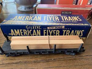 American Flyer 928 VTG S Black New Haven Flatcar w/ wood beam load W/box
