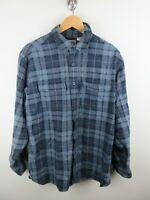 LL Bean Mens Shirt Size L Long Sleeve Button Up Regular Fit  Blue Plaid Adult
