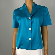 Aqua Turquoise Satin Shirt Top Shari moda Made in Italy sz L 46 Button Down
