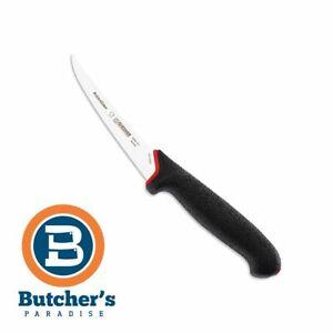 """Butchers Giesser Curved Blade Boning Knife Prime Line Black Red Handle 5"""" 13cm"""