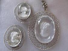 Vintage Whiting & Davis Co. Cameo Jewelry Set Pendant Necklace & Clip On Earring