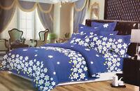 Daisies in Bloom Floral Design Duvet Cover Bedding Set Pillowcases, Blue/White