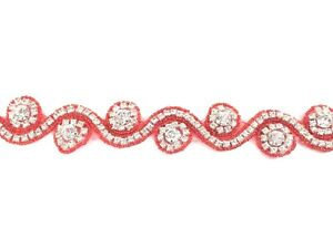 11'' Red Beautiful Bridal Rhinestone Belt Bridal Lace For Wedding Dress Trim