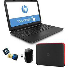 "New HP 15-f014wm 15.6"" Touchscreen Laptop/Quad-Core/4GB/750GB/DVD+RW/Case/Mouse"