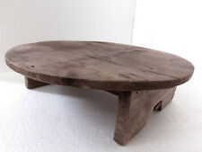 """۞ 23.5"""" wooden ANTIQUE primitive Low Round Dining Table - nice old patina"""