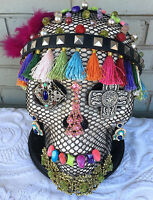 Jeweled Skull Day of the Dead Carmelita OOAK Art Piece Pedestal Custom 11""