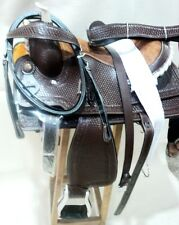 WESTERN WADE RANCH ROPING COWBOY HORSE LEATHER SADDLE,HEADTALL,REINS,BREASTPLATE