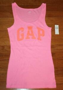 NEW NWT Womens GAP Arch LOGO Pink Tank Top Ribbed Stretch Slim Fit Fitted *2Q