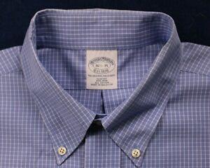 BROOKS BROTHER medium blue white square plaid slim fit dress shirt size 16.5-35