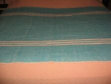 VINTAGE WOOL STADIUM THROW AQUA BLUE MAC AUSLAND'S 100% VIRGIN WOOL CANADA