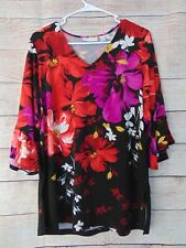 Susan Graver Printed Liquid Knit 3/4-Sleeve V-Neck Tunic Large Black/Red $63