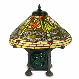 """Tiffany-style Green Dragonfly Table Lamp with 16"""" Shade"""