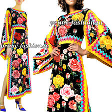 Dolce & Gabbana Silk Charmeuse Bright Floral Roses Print Long Sleeve Maxi Dress