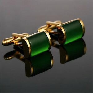 Classical Square Green Crystal Cuff Links Gold Plated Metal Mens Dress Cufflinks