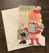 Vtg Unused Rust Craft Die Cut Merry Xmas Sister Child Girl Dog Card Glitter