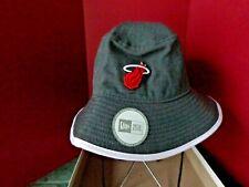 VINTAGE NBA Miami Heat Bucket Hat HARDWOOD CLASSIC Gray w/ White Trim Free Ship.