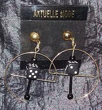 Pendientes de botón DADOS Oro Negro AZAR CASINO AROS bañado en oro