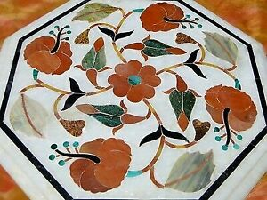 MARBLE TABLE TOP HIBISCUS HANDMADE SEMI-PRECIOUS STONES ANTIQUE INDIA COFFEE H
