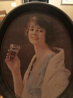 """Vintage 1973 Coca Cola Oval Flapper Girl Tray of 1923 Advertising - 15"""" X 12.5"""""""