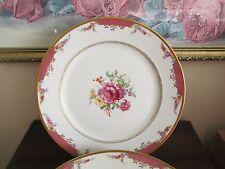 "Set Of 4 Rosenthal Selb Bavaria Germany Roses Flowers Dinner Plate 10 3/4"" Pink"