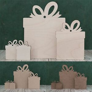 Wooden Christmas present shape, blank gift tag, craft cutout. Plywood or mdf