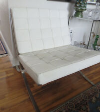 Reproduction Barcelona Chair Design Modern White  Leather and Chrome
