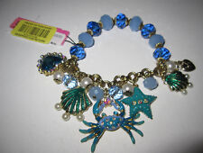 BETSEY JOHNSON BLUE CRAB HEART CLAM STARFISH STRETCH BRACELET