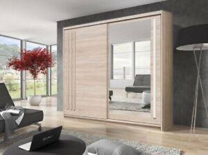2 Door Mirrored Sliding Wardrobe.OAK SONOMA. EF2-200. EFFECT. BRAND NEW.