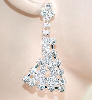 ORECCHINI donna argento pendenti strass brillantini cristalli idea regalo F240