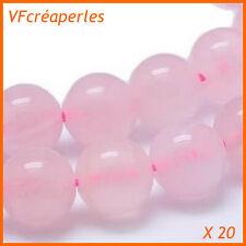 x 20 - Pierre Quartz Rose perles rondes polies de 6 mm. Grade AA