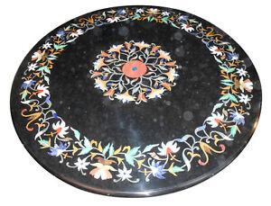 "28"" Black Marble Coffee Table Top Inlaid Precious Floral Arts Outdoor Decor B584"