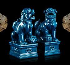 "13"" A pair China Porcelain qianlong Mark auspicious foo dog lion statue"