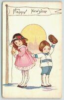 Margaret Evans Price New Year~Girl & Boy Raise Pennant Flag~Tip Hat~Emboss~644 F