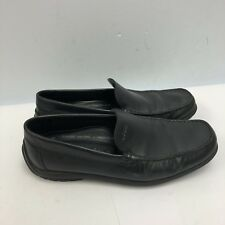 Ecco Shoes Loafers Slip Ons Men Size 41 US 7.5 Black Leather Upper Extra Width.