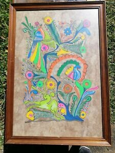 Vintage boho Indian? painting of birds; FREE POST