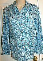 Lilly Pulitzer Women's Blue Swirl Fish Pattern Cruiser Shirt size 6